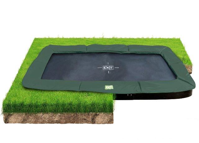 Exit interra 244x427cm groundlevel trampoline groen-grijs