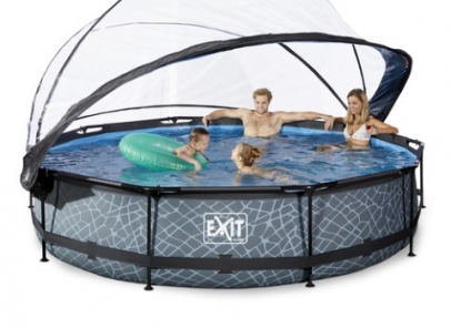 Exit zwembad 300 cm rond stone met kap