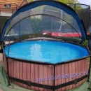 Exit zwembad 300cm wood-rond met kap <alleen afhalen>