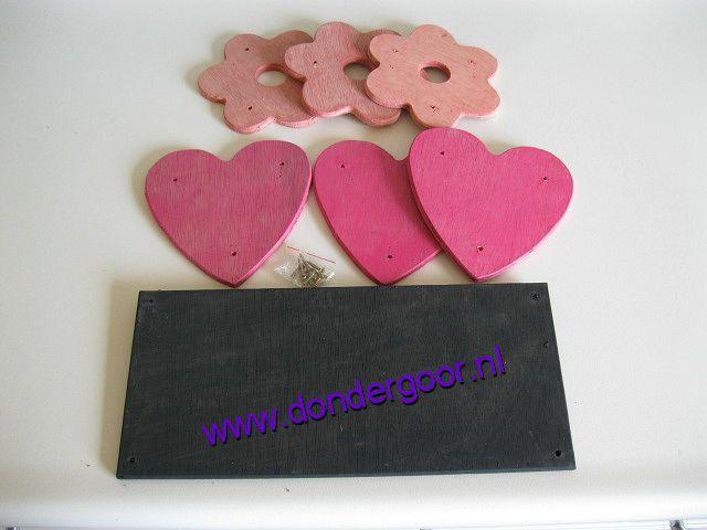 Decoratieset roze voor Speelhuisje
